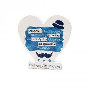 Drewniana tabliczka serce z podstawką wzbogacona lakierem UV z napisem  Dziadku miły...