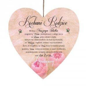 Drewniana tabliczka UV z napisem 'Kochani Rodzice... w dniu naszego ślubu'.