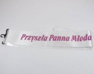 Szarfa z napisem Przyszła Panna Młoda!.Mix kolorów. Długość: 160 cm. Szerokość: 11 cm.