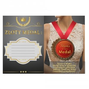 Mama na Medal - kartka z medalem i wierszykiem