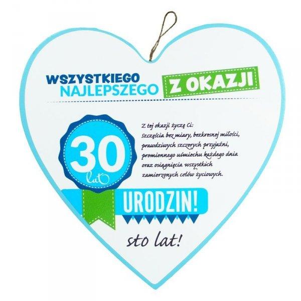"""Drewniana tabliczka 4 cm 30 urodziny w kształcie serca """"Wszystkiego najlepszego z okazji 30 urodzin..."""" Biała"""