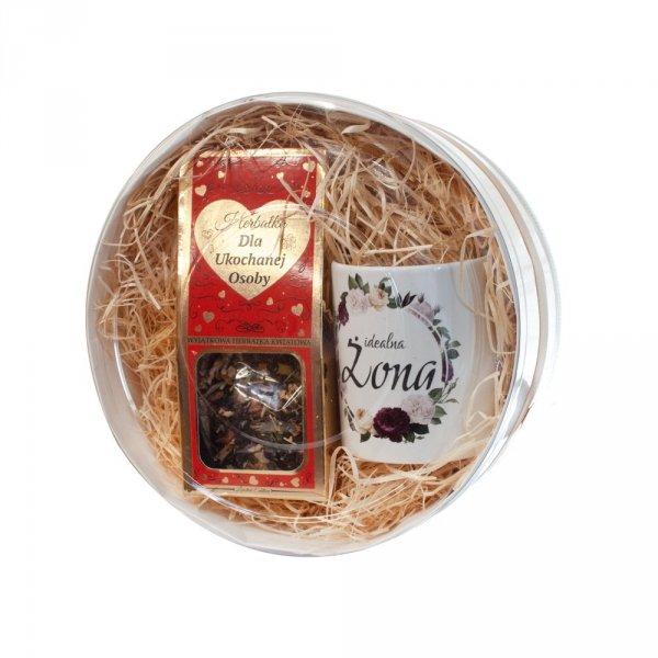 Zestaw prezentowy dla żony Herbatka kwiatowa + kubek Idealna Żona