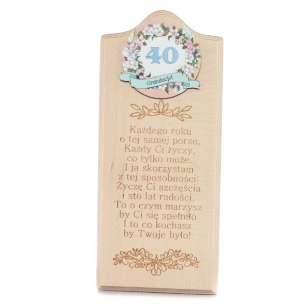 """Deska Życzenia urodzinowe """"40"""""""
