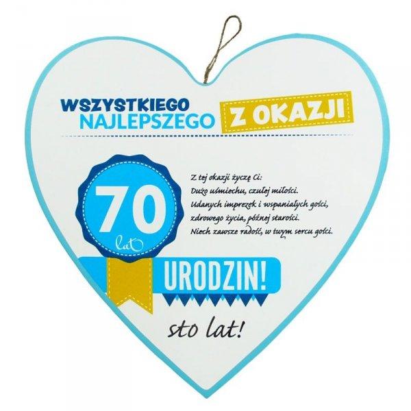 """Drewniana tabliczka 4 cm 70 urodziny w kształcie serca """"Wszystkiego najlepszego z okazji 70 urodzin..."""" Biała"""
