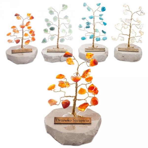 Drzewko szczęścia. Ok. 20 kamieni szlachetnych. Różne rodzaje. Średnica 6 cm wys. 10 cm.