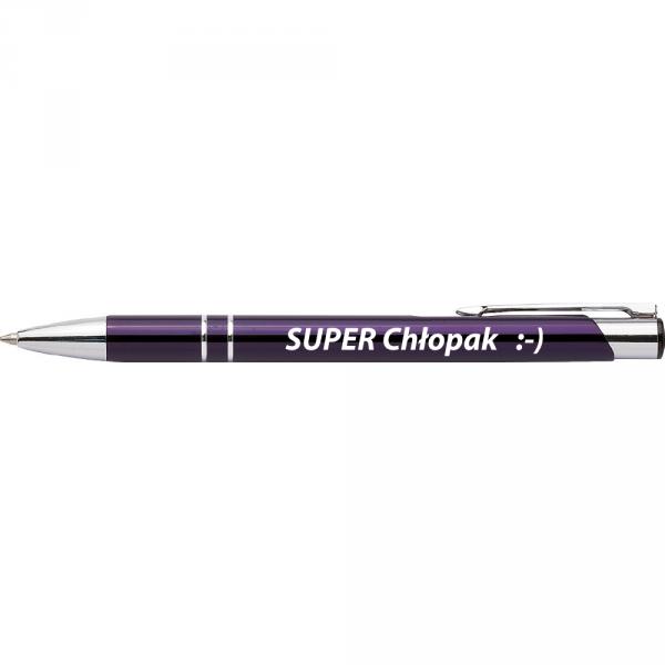 Długopis z nadrukiem 'Super chłopak' / KOLOR FIOLETOWY /