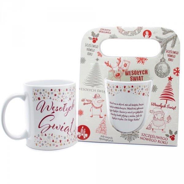 """Kubek ceramiczny w świątecznym opakowaniu z napisem """"Niech na co dzień nie od święta..."""""""