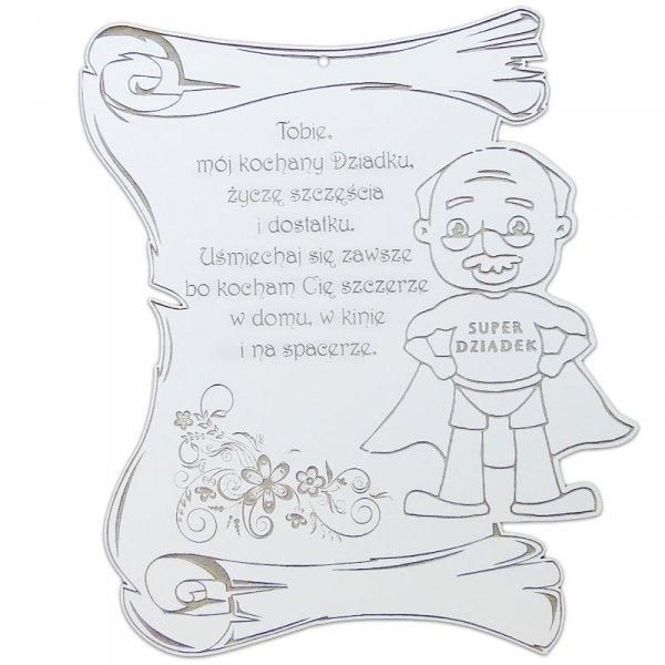 Dyplom drewniany grawerowany super dziadek 27x20x0,3cm