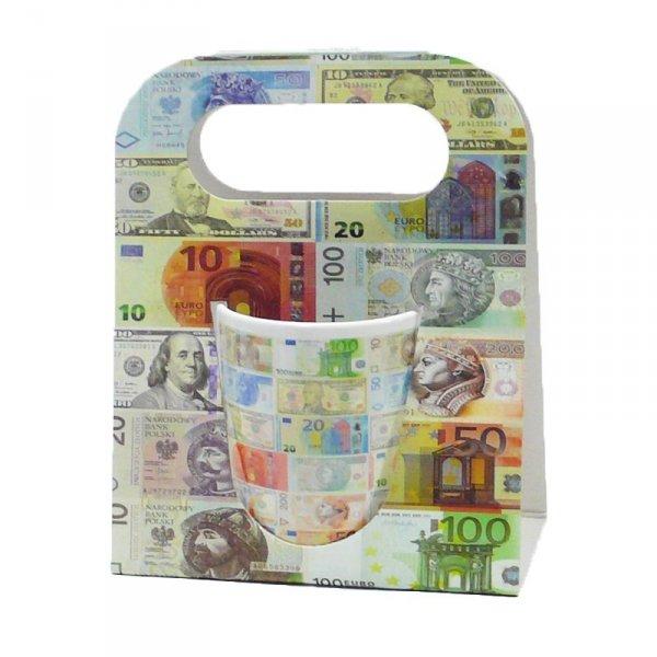 Kubek ceramiczny w ozdobnym białym opakowaniu, banknoty