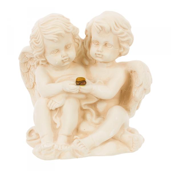 Figura gipsowa 'Para aniołków z kamyczkiem'. Kolor ecru. Wysokość: 15 cm.