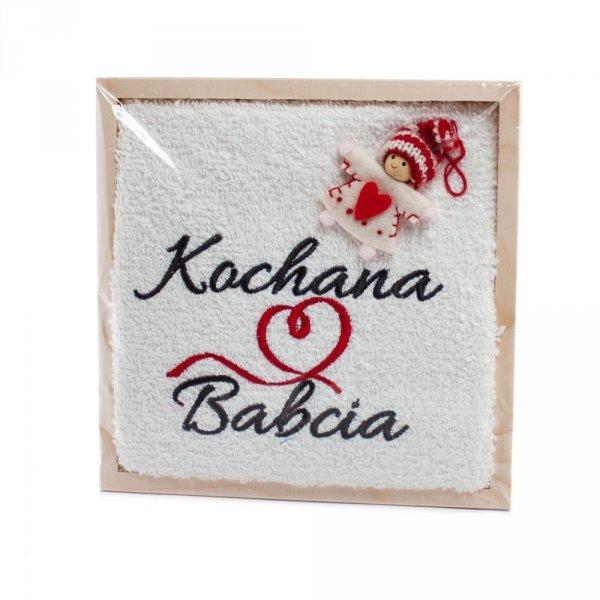 Ręcznik z haftem w drewnianej skrzynce, Kochanej Babci