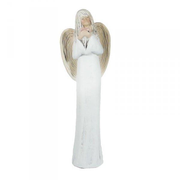 Anioł gipsowy 'SERCE NA DŁONI' . Wysokość 40 cm