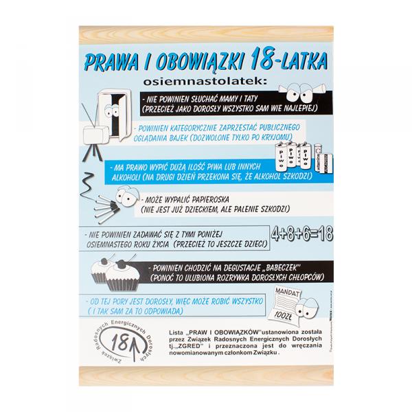 """DYPLOM KOLOROWY """"PRAWA I OBOWIĄZKI 18-LATKA"""""""