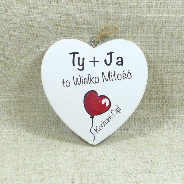 """DREWNIANA TABLICZKA WALENTYNKA 10 CM """"TY + JA..."""""""