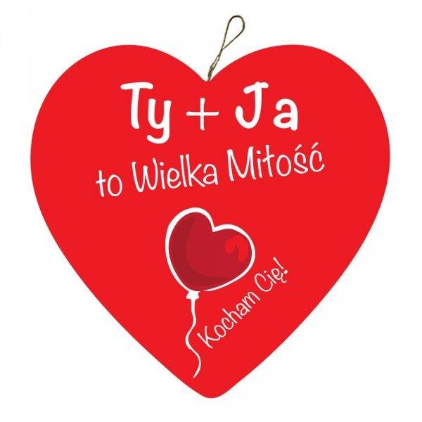 """Drewniana tabliczka w kształcie serca """"TY + JA"""", 5 cm"""